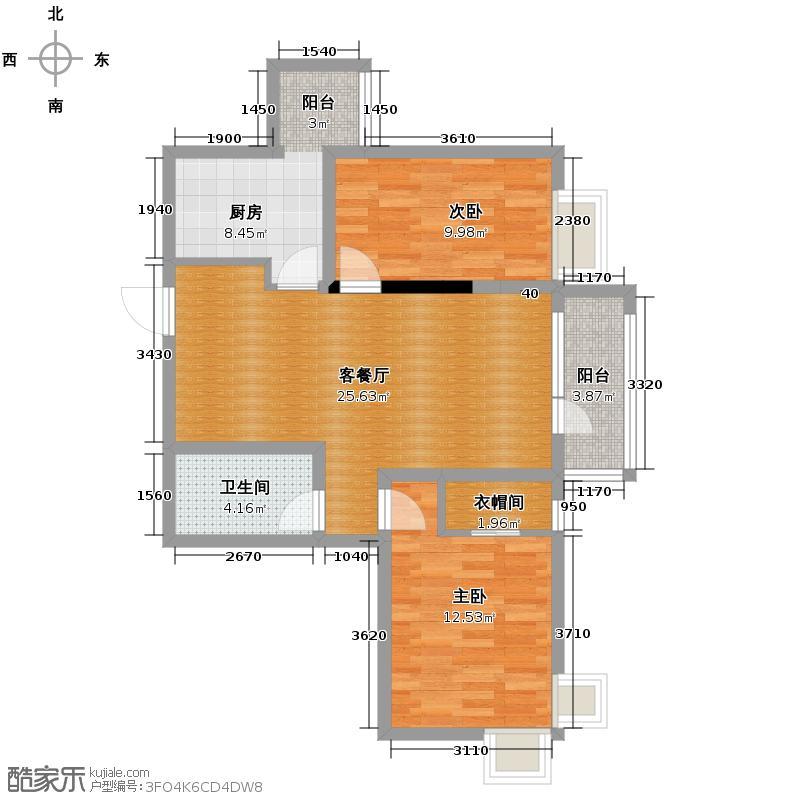 名流印象95.61㎡户型2室2厅1卫