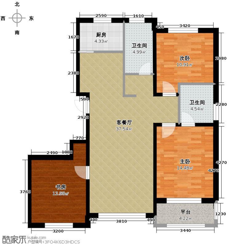 亚泰梧桐公馆114.00㎡阳光户型3室1厅2卫1厨