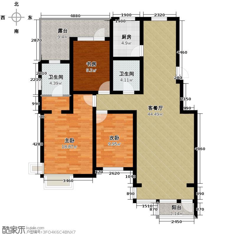 博荣水立方123.66㎡户型10室
