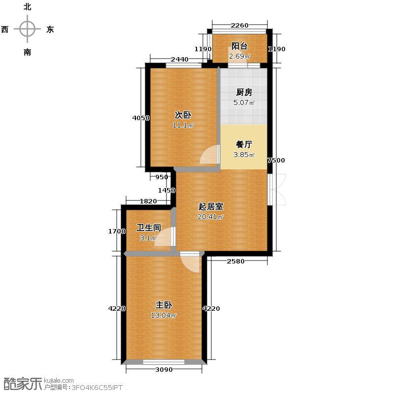 泰鑫国典56.67㎡14#楼户型2室2厅1卫