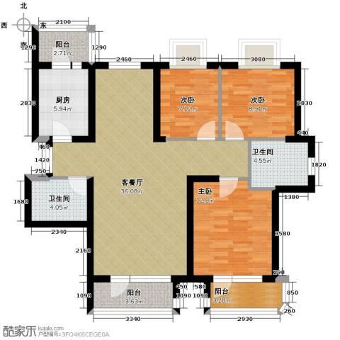保利达江湾城3室2厅2卫0厨129.00㎡户型图