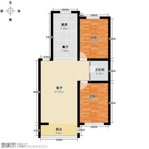 名仕雅居2室2厅1卫0厨98.00㎡户型图