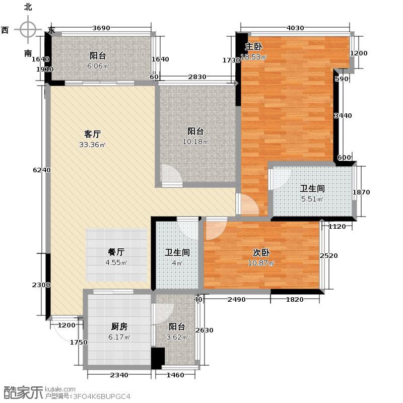 顺德雅居乐花园104.61㎡30/31座02/05单元户型2室2厅2卫
