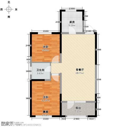 金地檀溪2室2厅1卫0厨89.00㎡户型图