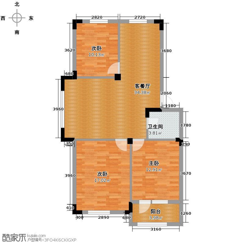 澳海西湖印象95.00㎡C6、C7、C2号楼N1户型3室1厅1卫