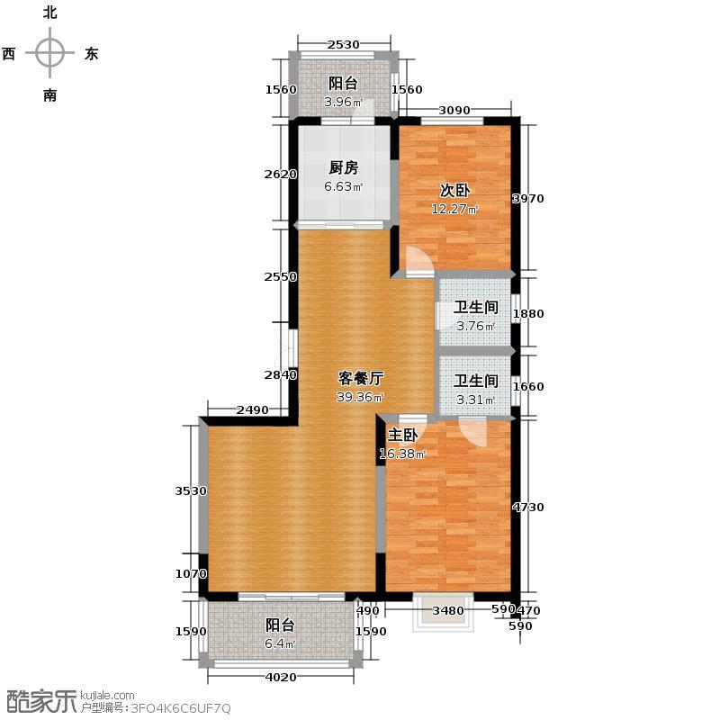 盟科观邸73.10㎡-户型2室1厅2卫1厨