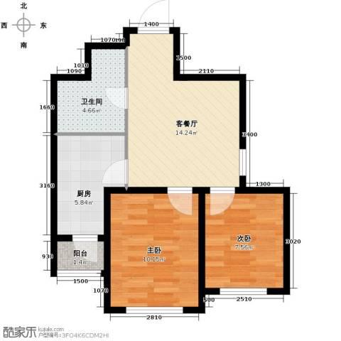 汇水湾2室2厅1卫0厨62.00㎡户型图