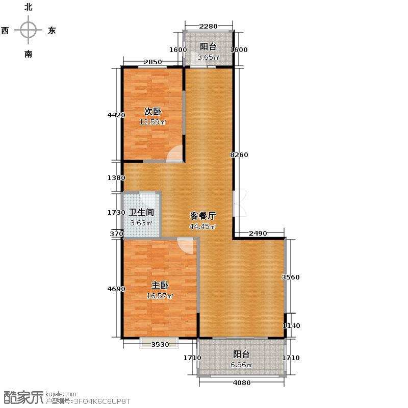 盟科观邸73.10㎡-户型2室1厅1卫