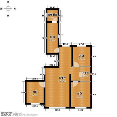 格林馨港湾3室2厅1卫0厨116.00㎡户型图