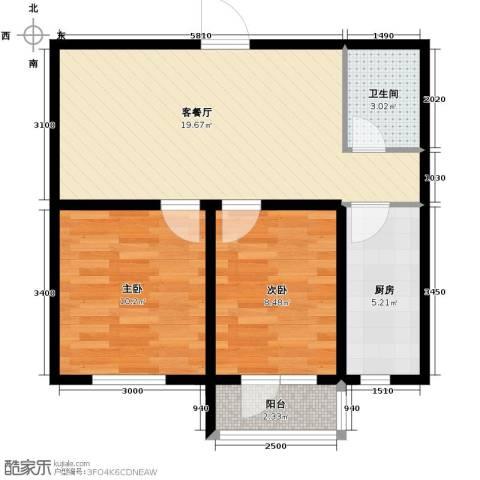 汇水湾2室2厅1卫0厨67.00㎡户型图