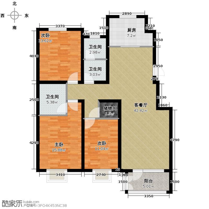 �和嘉园144.75㎡多层B户型3室1厅3卫1厨
