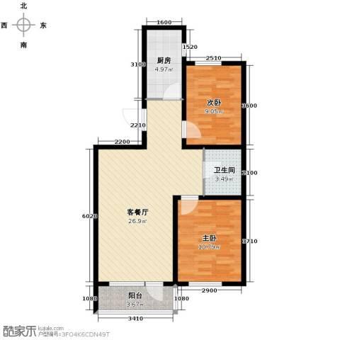 汇水湾2室2厅1卫0厨86.00㎡户型图
