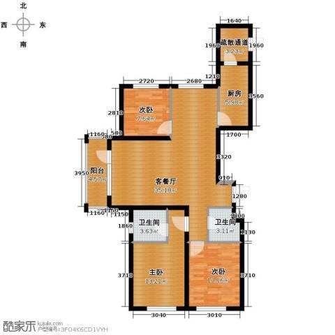 格林馨港湾3室2厅2卫0厨125.00㎡户型图