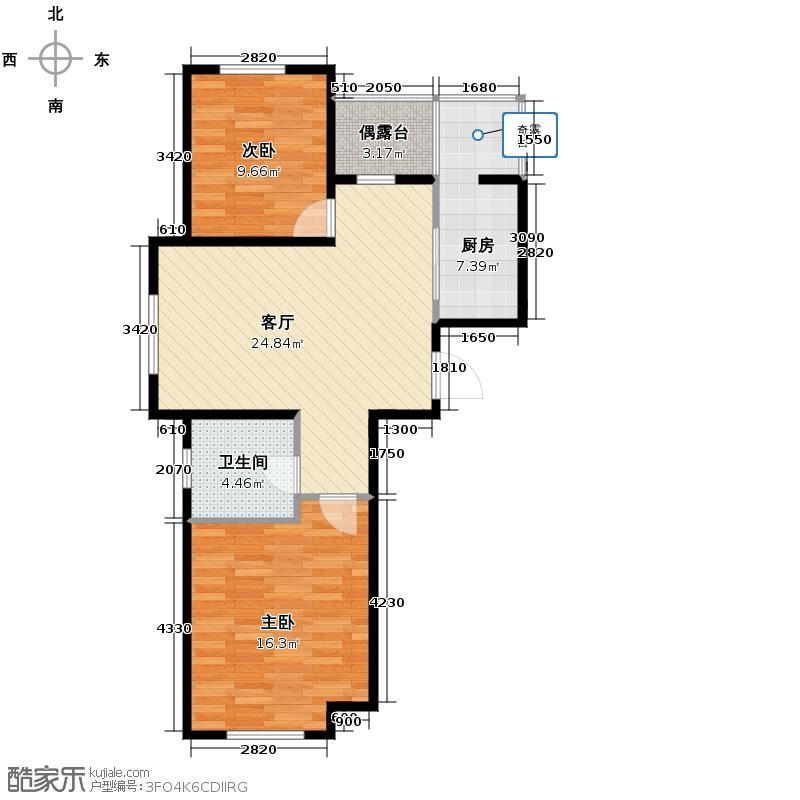 泰荣湾76.86㎡C户型2室2厅1卫
