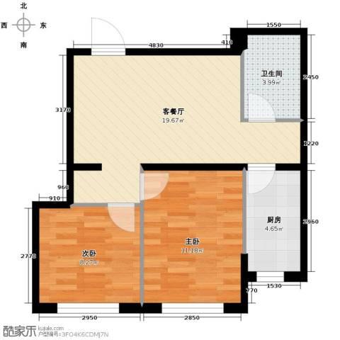 世纪枫景汇2室1厅1卫0厨65.00㎡户型图