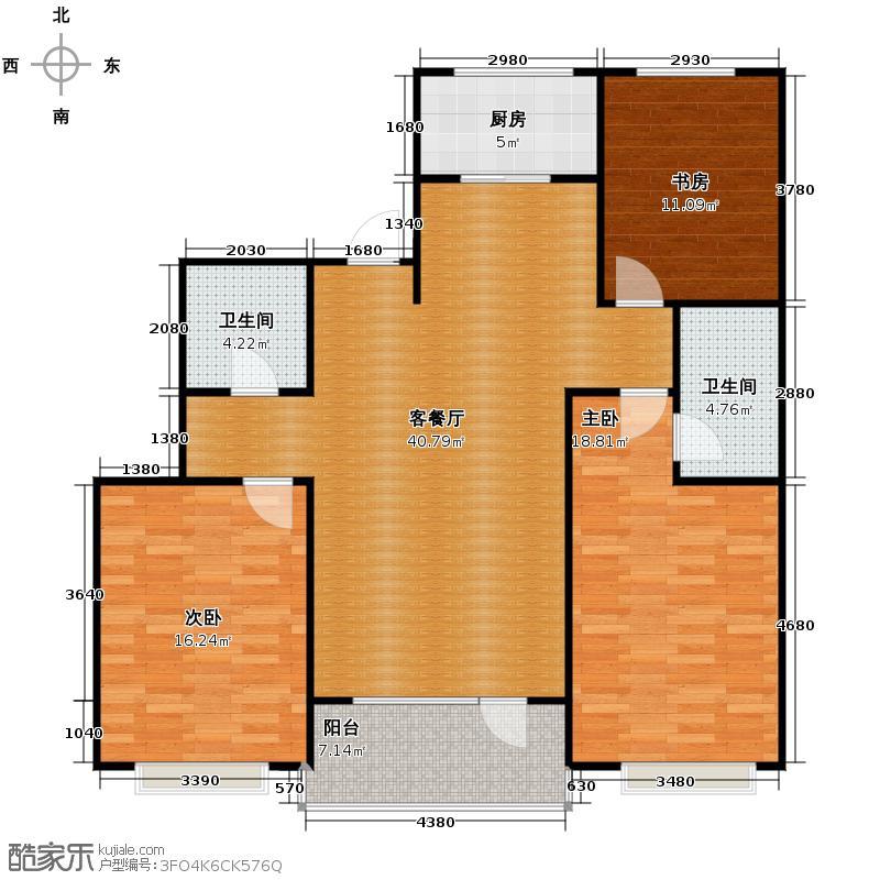 惠盛苑115.54㎡朝南主卧、客厅大开间构筑大家风范户型3室1厅2卫1厨