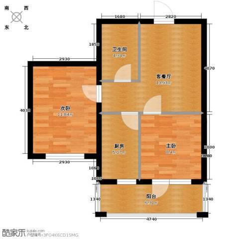 格林馨港湾2室1厅1卫0厨66.00㎡户型图