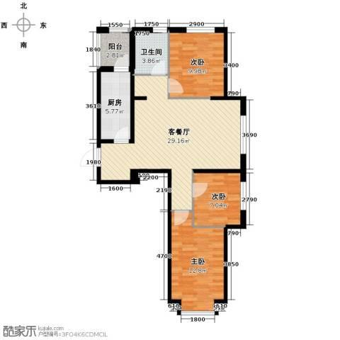 世纪枫景汇3室2厅1卫0厨96.00㎡户型图