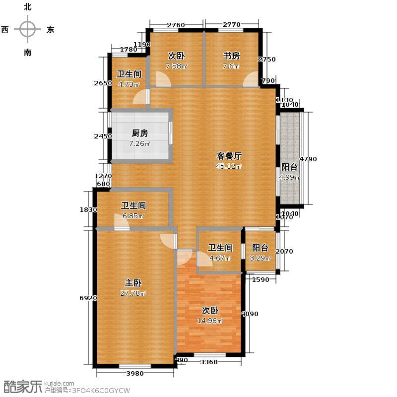 钱塘梧桐蓝山188.00㎡10号楼东边套C2户型4室2厅3卫