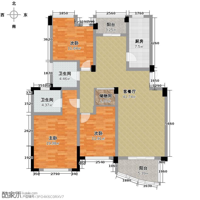 翡翠城128.99㎡竹苑1#B户型10室