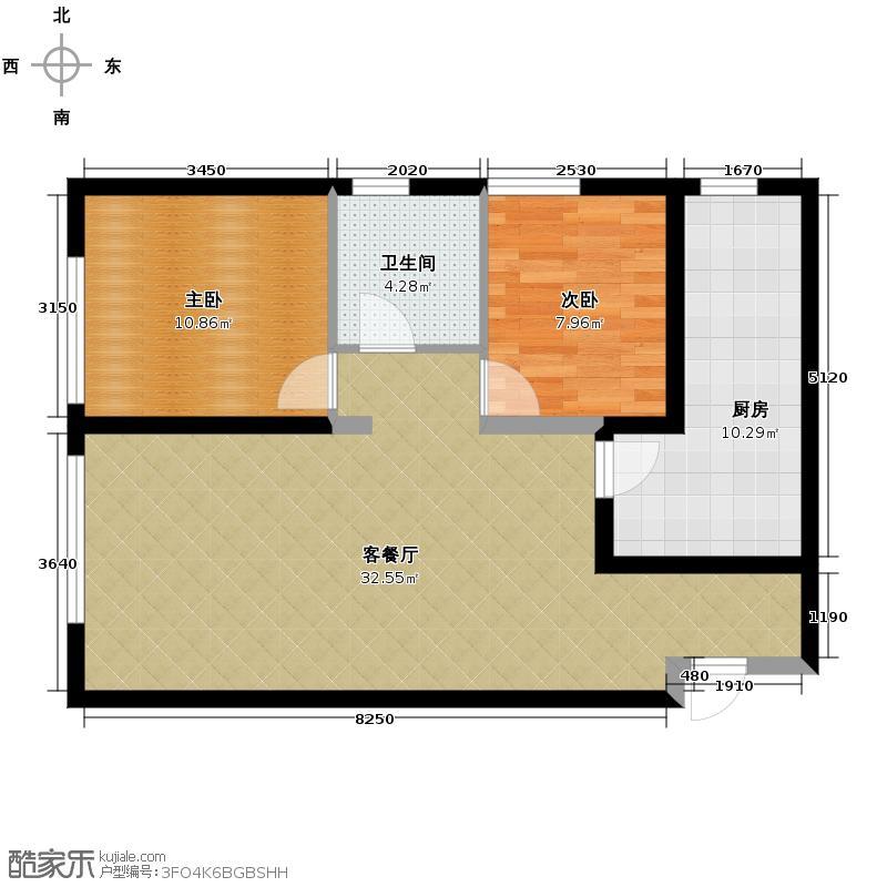 阳光100国际新城87.00㎡二期住宅户型2室1厅1卫1厨