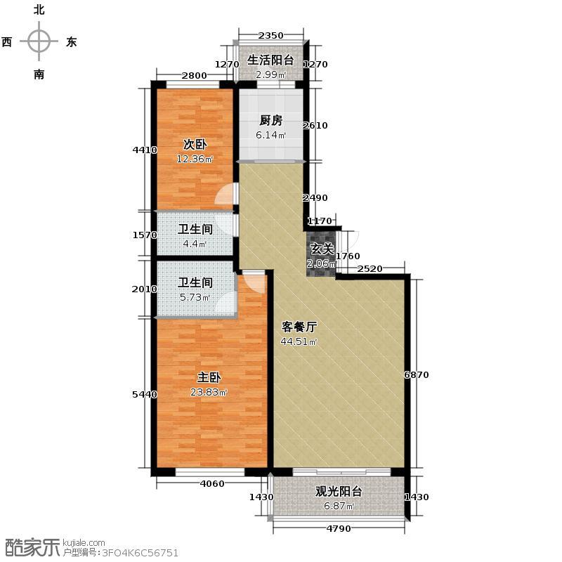 泰鑫国典119.14㎡6#楼户型2室2厅2卫