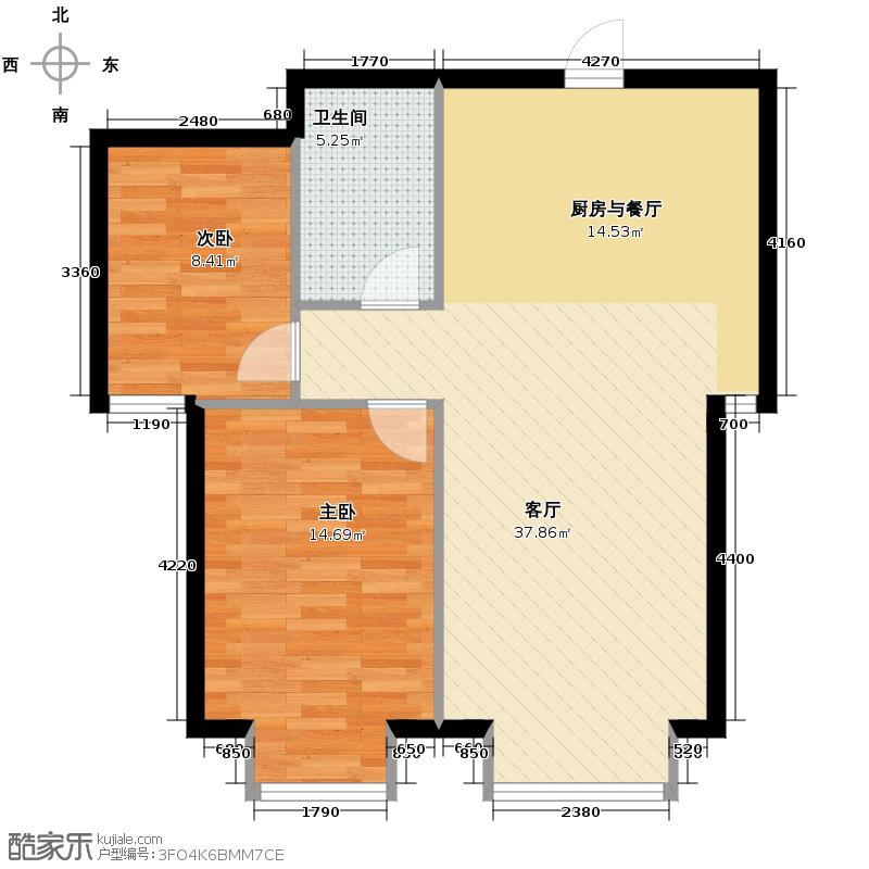 西美五洲天地93.00㎡13号楼3户型2室2厅1卫