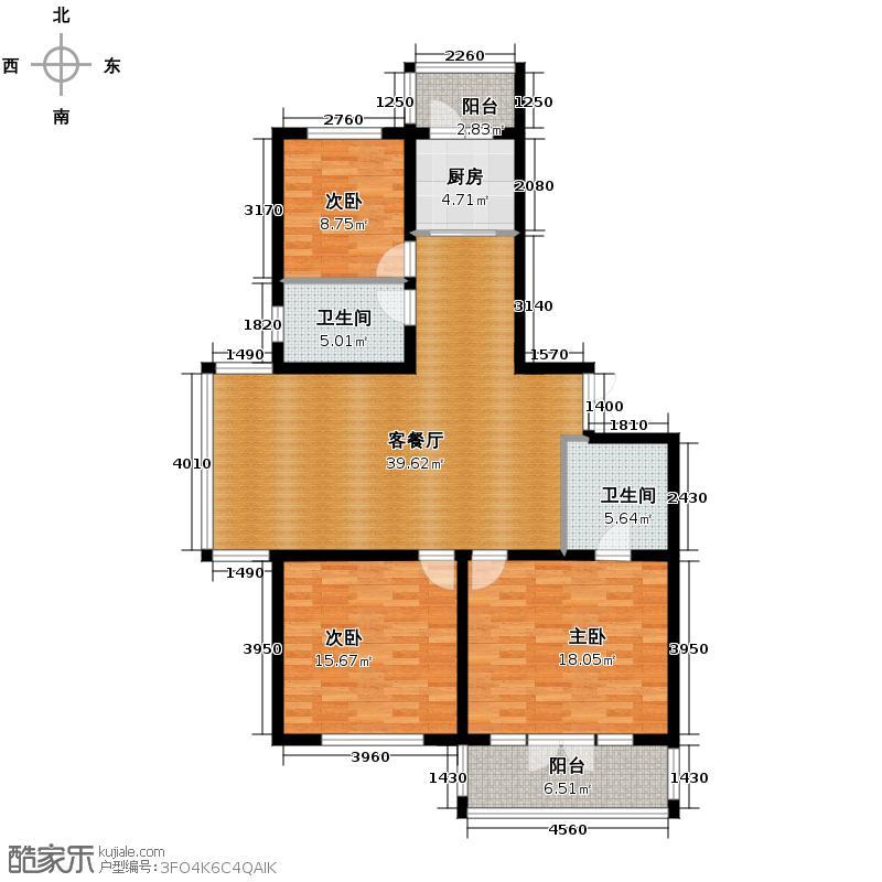 泰鑫国典91.63㎡户型3室2厅2卫