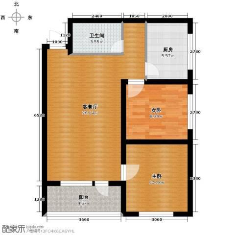中央湖畔2室1厅1卫1厨80.00㎡户型图