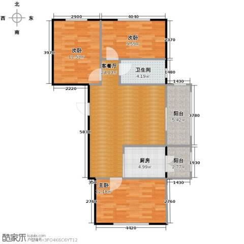 海富金棕榈3室1厅1卫1厨101.00㎡户型图