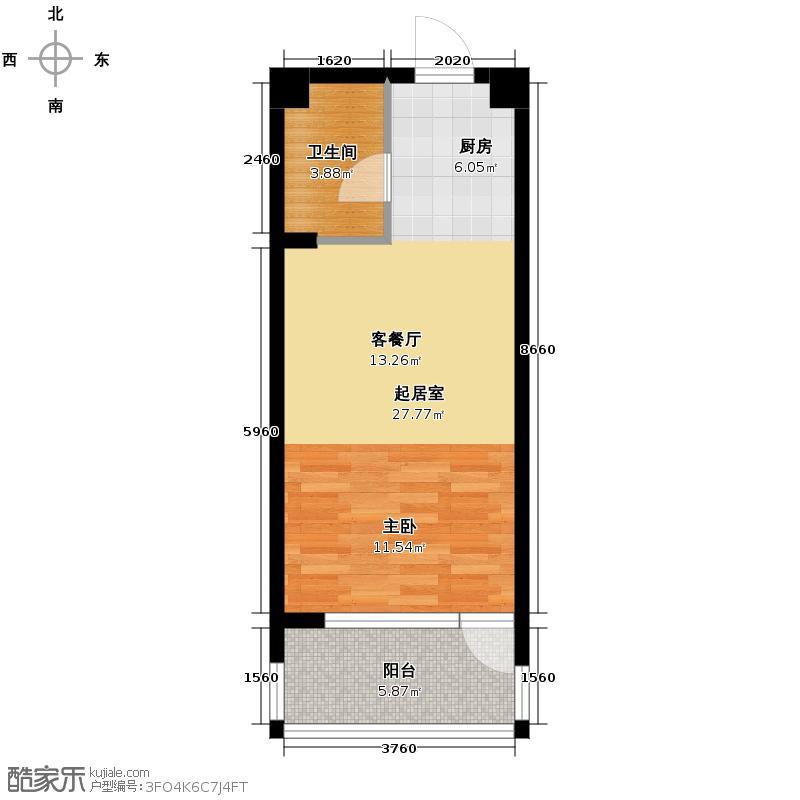 千岛湖柏润国际花园44.47㎡B3位于4号楼户型1室2厅1卫