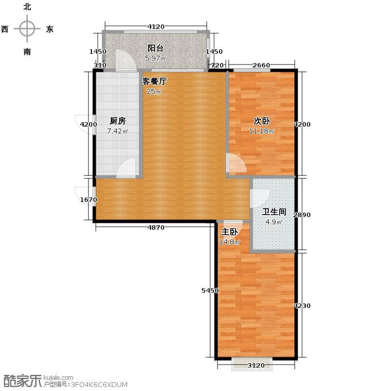 海富金棕榈59.80㎡户型2室1厅1卫1厨
