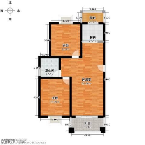 双湖明珠2室0厅1卫1厨92.00㎡户型图