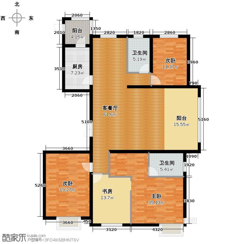 天鹅湾133.01㎡四居户型3室1厅2卫1厨