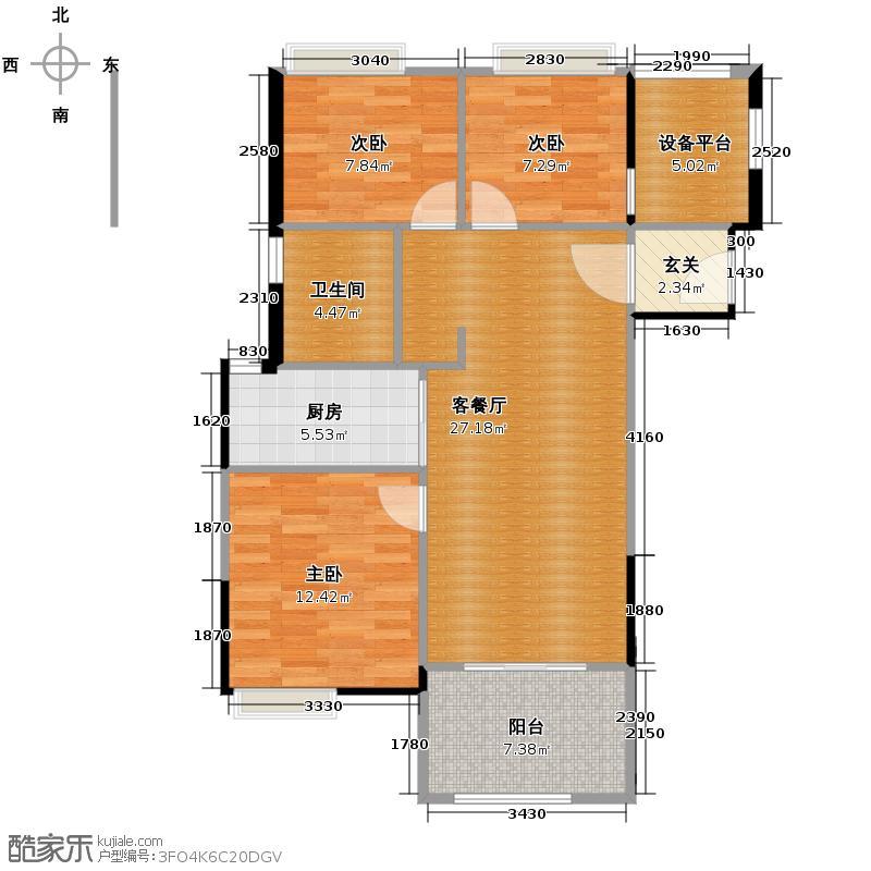 复地连城国际89.00㎡F1户型3室2厅1卫