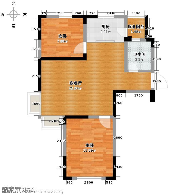 亚美利加85.90㎡房型户型2室1厅1卫1厨