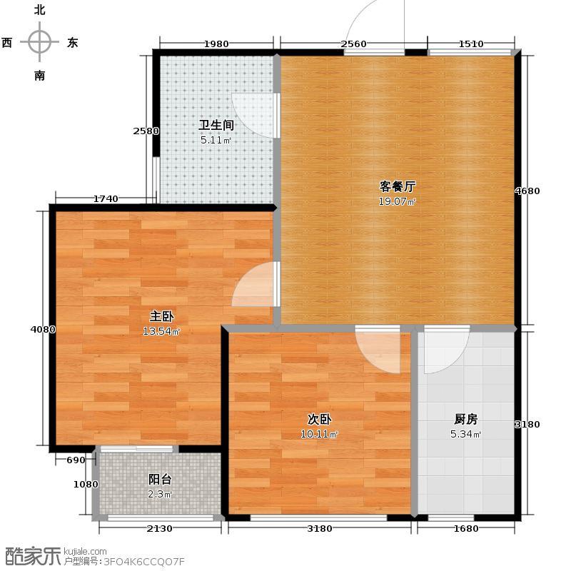 SR国际新城59.84㎡A户型2室1厅1卫1厨