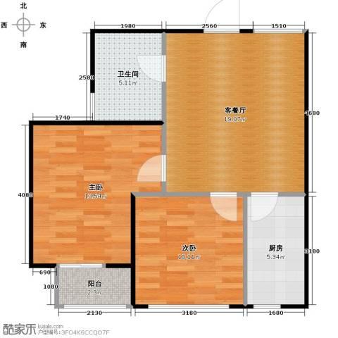 SR国际新城2室1厅1卫1厨75.00㎡户型图