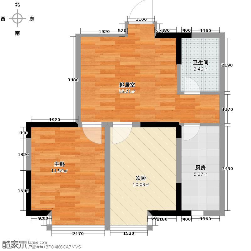 亚美利加65.00㎡房型户型2室1卫1厨