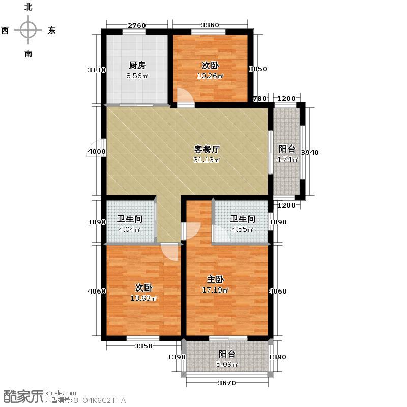 集美岸上蓝山89.00㎡A1户型3室2厅2卫