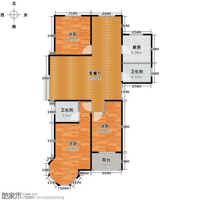 天河悦城129.80㎡A3户型3室2厅2卫
