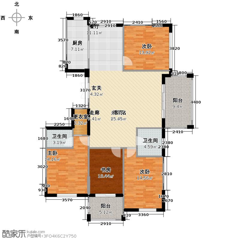 赞成香颂142.97㎡GC-6B型12号楼四―十六层偶数层户型10室