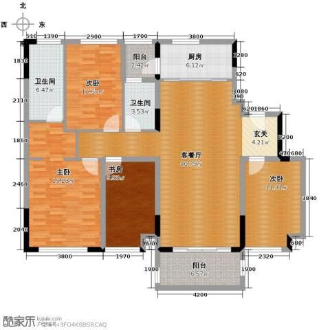 万科缤纷四季4室1厅2卫1厨136.00㎡户型图