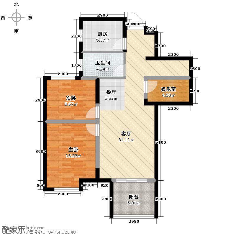 金地自在城88.48㎡D-1a鹭影洲13-16号楼户型2室1厅1卫1厨