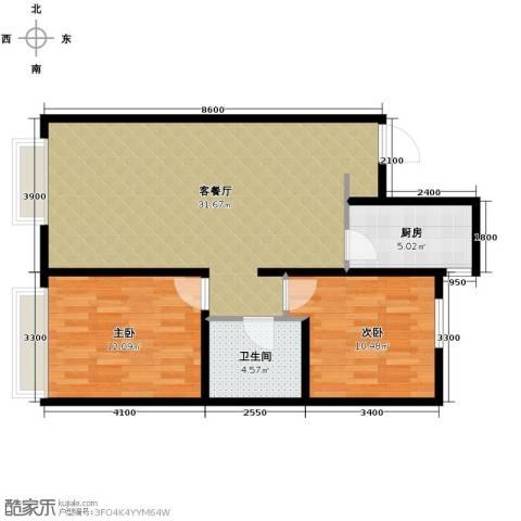 万科城2室1厅1卫1厨95.00㎡户型图