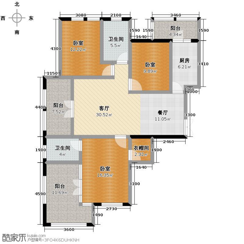 群力玫瑰湾5.00㎡G05预测建筑面积16495至户型3室2厅2卫