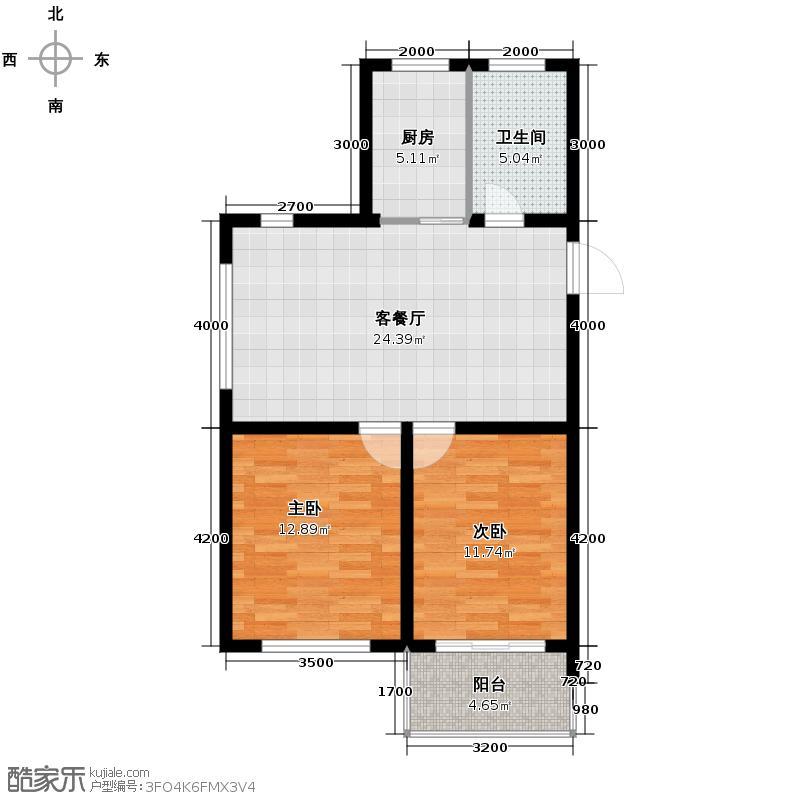 江南铭庭89.00㎡1#楼偶数层平面D户型2室1厅1卫1厨