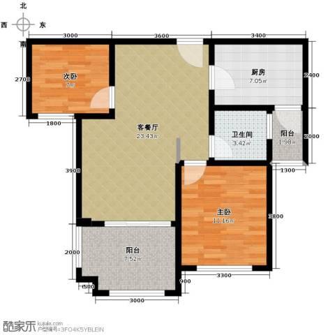 碧桂园滨湖城2室2厅1卫0厨88.00㎡户型图