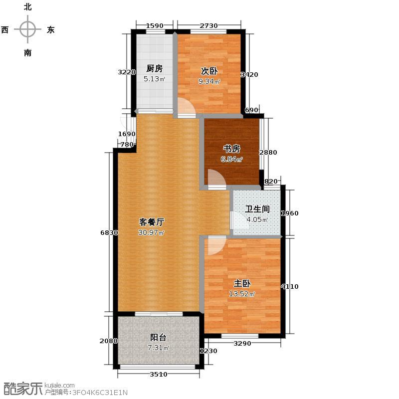赞成香颂86.30㎡GC-7B型8号楼四―十六层偶数层户型10室