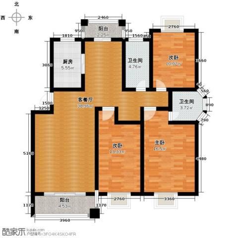 双湖明珠3室1厅2卫1厨126.00㎡户型图